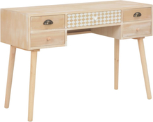 vidaXL Skrivbord med 5 lådor 114x40x75,5 cm massiv furu