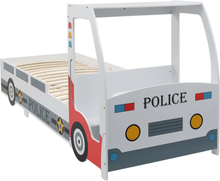 vidaXL Barnsäng polisbil med skrivbord 90x200 cm