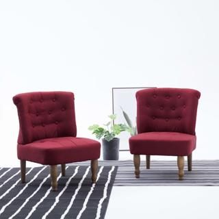 vidaXL Franske stoler 2 stk vinrød stoff