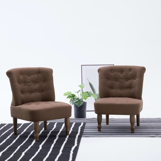 vidaXL Franske stoler 2 stk brun stoff
