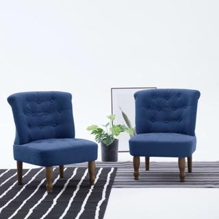 vidaXL Franske stoler 2 stk blå stoff