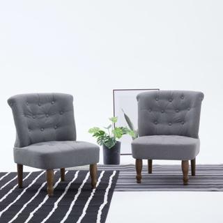 vidaXL Franske stoler 2 stk lys grå stoff