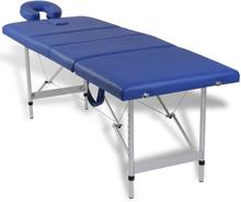 vidaXL Hopfällbar massagebänk med 4 sektioner aluminium blå