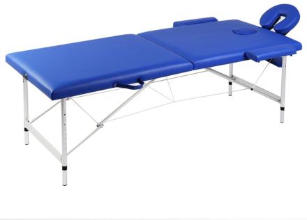 vidaXL Blå hopfällbar 2-sektions massagebänk med aluminium ram