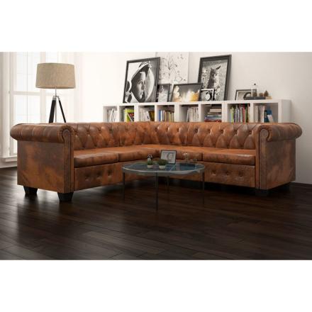 vidaXL 5-sitsig Chesterfield soffa konstläder brun