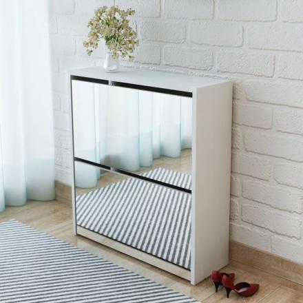 vidaXL Skoskåp med 2 lådor och spegel vit 63x17x67 cm
