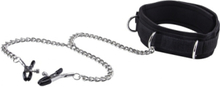 Ouch!: Velcro Collar with Nipple Clamps, svart