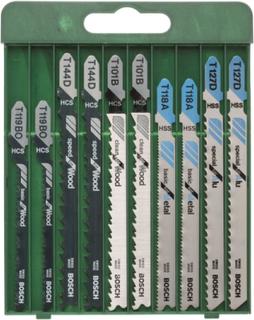 10-delers stikksagblad-sett T-tange T 101 B (2x) T 144 D (2x) T 119 BO (2x) T 118 A (2x) T 127 D (2x)