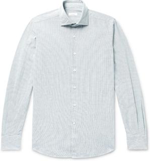 Slim-fit Pintriped Cotton Oxford Shirt - Blue
