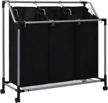 vidaXL Tvättsorterare med 3 påsar svart stål