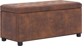 vidaXL ottoman med opbevaring 87,5 cm imiteret ruskind brun