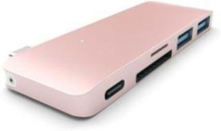 Hub 2 x USB 3.0 + 1 x USB 3.0 (charger) USB 3.1 Type C connection desktop rose gold USB Hub - USB 3.0 - 3 porte - Pink