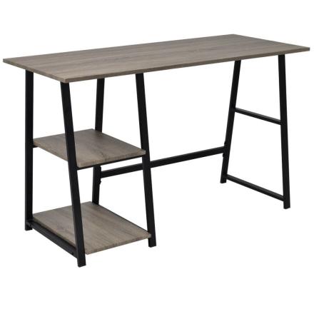 vidaXL Skrivebord med 2 hyller grå og eik