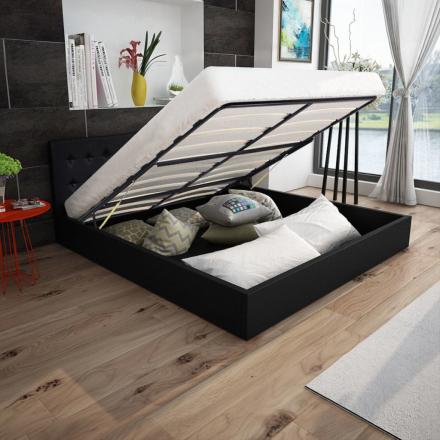 vidaXL hydraulisk seng med opbevaring 180 cm kunstlæder sort