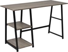 vidaXL Kirjoituspöytä 2 hyllyllä harmaa ja tammenvärinen