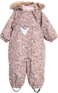 Wheat Nickie vinterdress til baby, rosa med blomsterprint
