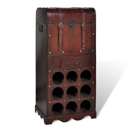 vidaXL Vinställ med förvaringskista och låda 9 flaskor