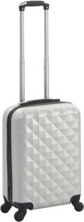 vidaXL Hardplast trillekoffert lys sølv ABS