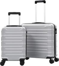 vidaXL Hårda resväskor 2 st silver ABS