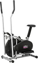 2 i 1 crosstrainer och motionscykel med lcd display - svart