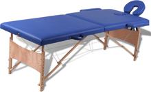 vidaXL Blått vikbart massagebord med 2 zoner och träram