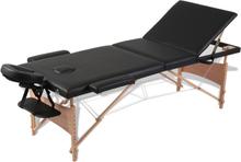 vidaXL Svart vikbart massagebord med 3 zoner och träram