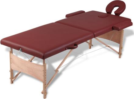 vidaXL Rött vikbart massagebord med 2 zoner och träram