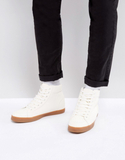 ASOS High Top Trainers In White With Gum Sole - Wh