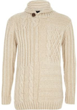 River Island Boys Cream mixed cable knit jumper