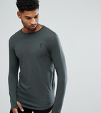 Religion Tall Longline Long Sleeve Top - Grey