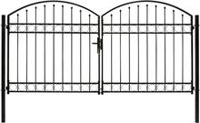 vidaXL Dubbelgrind med välvd topp 300x150 cm stål svart