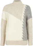 River Island Womens Cream blocked cable knit high