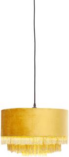KARE DESIGN Tassel loftslampe - gult stof, rundt (Ø:40)