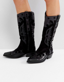 ASOS CACTUS Leather Western Knee High Boots - Blac