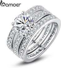 BAMOER Luxury Brand Fashion Sterling Silver 925 Bridal Ring for Women with Paved Micro Zircon Crystal Wedding Jewelry SCR565