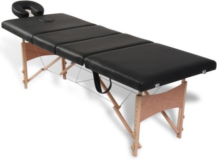 vidaXL Svart hopfällbar 4-sektions massagebänk med träram