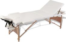 vidaXL Hopfällbar massagebänk med 3 sektioner träram gräddvit