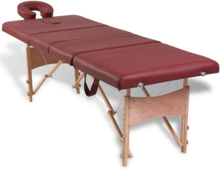 vidaXL Röd hopfällbar 4-sektions massagebänk med träram