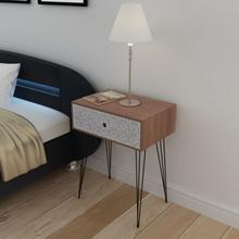 vidaXL Nattbord med 1 skuff rektangulær brun