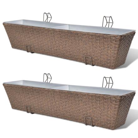 vidaXL Flower boks til altan 2-Pack rattan / zink brun 80cm