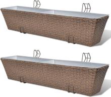 vidaXL Blomlåda för balkong 2-pack konstrotting/zink brun 80cm