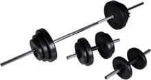 vidaXL Set med skivstång och 2 hantlar 30,5 kg