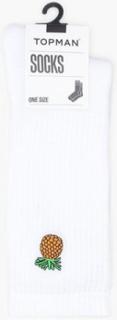 Topman 'Pineapple' Badge Tube Socks Strømper White
