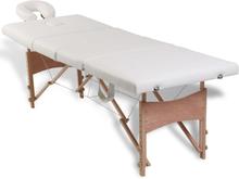 vidaXL Gräddvit hopfällbar 4-sektions massagebänk med träram