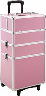 Sminkväska med 3 nivåer rosa av tectake