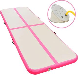 vidaXL Oppblåsbar gymnastikkmatte med pumpe 300x100x10 cm PVC rosa