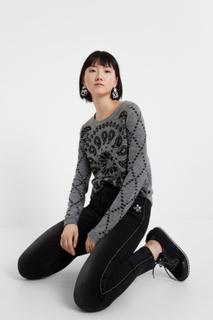 Viscose, wool and cashmere curved hem jumper - BLACK - XL
