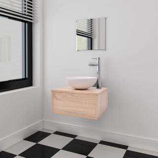 vidaXL sæt med badeværelsesmøbler og håndvask 3 dele beige