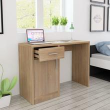 vidaXL Skrivbord med låda och skåp ek 100x40x73 cm