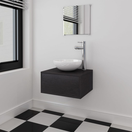 vidaXL sæt med badeværelsesmøbler m/håndvask + vandhane 4 dele sort